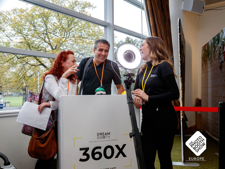 360 booth by Dream Booth at the photo booth show being shown to delegates.